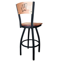 Holland Bar Stool L03830BWMedMplAWisc-WMedMpl Black Steel University of Wisconsin Laser Engraved Bar Height Swivel Chair with Maple Back and Seat