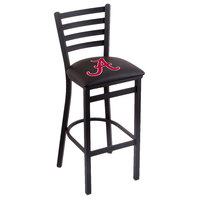 Holland Bar Stool L00430AL-A Black Steel University of Alabama Bar Height Chair with Ladder Back and Padded Seat