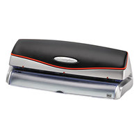 Swingline 74520 Optima 20 Sheet Black and Silver Electric 3 Hole Punch - 9/32 inch