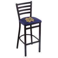 Holland Bar Stool L00430ND-ND Black Steel University of Notre Dame Bar Height Chair with Ladder Back and Padded Seat