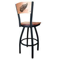 Holland Bar Stool L03830BWMedMplADetRedMedMpl Black Steel Detroit Red Wings Laser Engraved Bar Height Swivel Chair with Maple Back and Seat