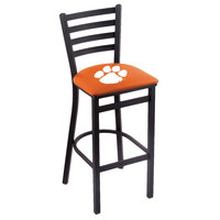 Holland Bar Stool L00430Clmson Black Steel Clemson University Bar Height Chair with Ladder Back and Padded Seat