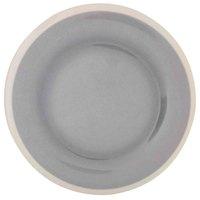 Thunder Group DM010H Graham 10 1/2 inch Round Gray Melamine Plate with Ivory Edge - 12/Case