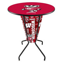Holland Bar Stool L218B42Wiscon36RWI-Bdg University of Wisconsin 36 inch Round Bar Height LED Pub Table
