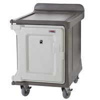 Cambro MDC1520S10DH194 Granite Sand 10 Tray Dual Access Meal Delivery Cart with 6 inch Heavy-Duty Casters