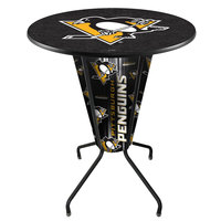 Holland Bar Stool L218B42PitPen36RPitPen Pittsburgh Penguins 36 inch Round Bar Height LED Pub Table