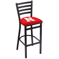 Holland Bar Stool L00430Nebrun Black Steel University of Nebraska Bar Height Chair with Ladder Back and Padded Seat