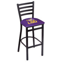 Holland Bar Stool L00430LaStUn Black Steel Louisiana State University Bar Height Chair with Ladder Back and Padded Seat
