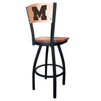 Holland Bar Stool L03830BWMedMplAMichUnMedMpl Black Steel University of Michigan Laser Engraved Bar Height Swivel Chair with Maple Back and Seat