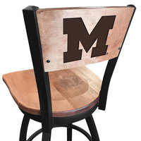... Holland Bar Stool L03830BWMedMplAMichUnMedMpl Black Steel University Of  Michigan Laser Engraved Bar Height Swivel Chair With