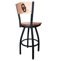 Holland Bar Stool L03830BWMedMplAOklhmaMedMpl Black Steel University of Oklahoma Laser Engraved Bar Height Swivel Chair with Maple Back and Seat