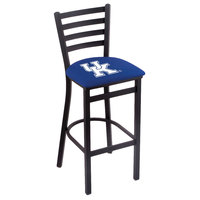 Holland Bar Stool L00430UKY-UK Black Steel University of Kentucky Bar Height Chair with Ladder Back and Padded Seat