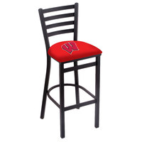 Holland Bar Stool L00430Wisc-W Black Steel University of Wisconsin Bar Height Chair with Ladder Back and Padded Seat