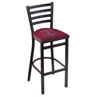 Holland Bar Stool L00430TexA-M Black Steel Texas A&M Bar Height Chair with Ladder Back and Padded Seat