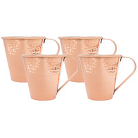 Acopa 18 oz. Tapered Moscow Mule Cup with Hammered Copper Finish - 4/Pack