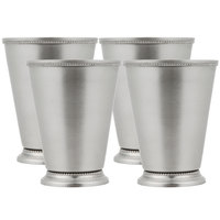 Acopa 16 oz. Stainless Steel Mint Julep Cup with Smooth Finish and Beaded Detailing - 4/Pack
