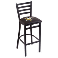 Holland Bar Stool L00430PitPen Black Steel Pittsburgh Penguins Bar Height Chair with Ladder Back and Padded Seat