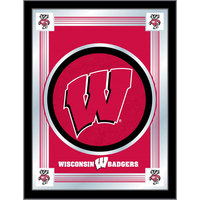 Holland Bar Stool MLogoWisc-W 17 inch x 22 inch University of Wisconsin Decorative Logo Mirror