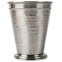 Core 16 oz. Stainless Steel Mint Julep Cup with Hammered Finish and Beaded Detailing - 4/Pack