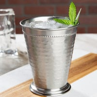 Acopa Alchemy 16 oz. Hammered Stainless Steel Mint Julep Cup with Beaded Detailing - 4/Pack