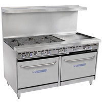 Bakers Pride Restaurant Series 60-BP-6B-G24-S26 Liquid Propane 6 Burner Range with Two Standard 26 inch Ovens and 24 inch Griddle