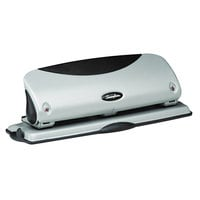 Swingline 74063 12 Sheet Easy View Black and Silver 3 Hole Punch - 9/32 inch Holes