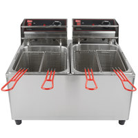 Cecilware EL2X15 Stainless Steel Electric Commercial Countertop Deep Fryer with Two 15 lb. Fry Tanks - 120V, 1800W