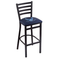 Holland Bar Stool L00430AirFor Black Steel United States Air Force Bar Height Chair with Ladder Back and Padded Seat