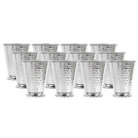Acopa 16 oz. Stainless Steel Mint Julep Cup with Hammered Finish and Beaded Detailing - 12/Pack