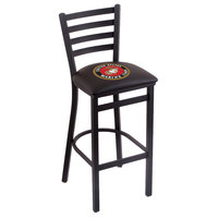 Holland Bar Stool L00430Marine Black Steel United States Marine Corps Bar Height Chair with Ladder Back and Padded Seat