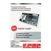 Swingline 3202104 LongLife 2 9/16 inch x 3 1/2 inch ID Badge Thermal Laminating Pouch - 10 Mil - 100/Box