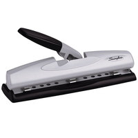 Swingline 74026 12 Sheet LightTouch Black and Silver 2-3 Hole Punch - 9/32 inch Holes