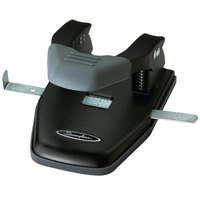 Swingline 74050 28 Sheet Black and Gray Steel 2-7 Hole Punch with Comfort Handle - 1/4 inch Holes
