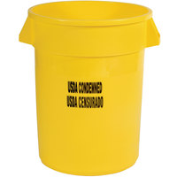 Rubbermaid FG263246YEL Brute 32 Gallon Yellow USDA Condemned Trash Can