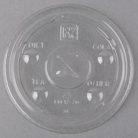 Fabri-Kal LKC12/20 Kal-Clear / Nexclear 9 oz. Clear Plastic Flat Lid with Flavor Buttons and Straw Slot - 1000/Case