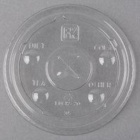 Fabri-Kal LKC12/20 Kal-Clear / Nexclear 9 oz. Clear Plastic Flat Lid with Straw Slot   - 1000/Case