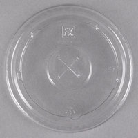 Fabri-Kal LKC12/20 Kal-Clear / Nexclear 9 oz. Clear Plastic Flat Lid with Straw Slot - 1000/Case