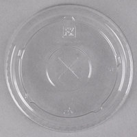 Fabri-Kal LKC16/24 Kal-Clear / Nexclear 12 / 14, 16 / 18, 20, and 24 oz. Clear Plastic Flat Lid with Straw Slot - 1000/Case
