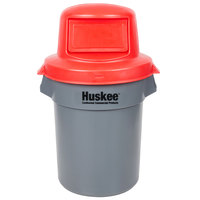 Continental Huskee 55 Gallon Gray Trash Can with Red Dome Top Lid