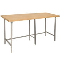 Advance Tabco TH2S-368 Wood Top Work Table with Stainless Steel Base - 36 inch x 96 inch