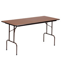 Correll CF2460M01 24 inch x 60 inch Rectangular Walnut Light Duty Melamine Folding Table