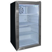 Excellence EMM-4SD Black Countertop Display Refrigerator with Stainless Steel Swing Door - 3.8 Cu. Ft.