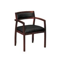 HON VL852NSB11 Basyx Black Leather Arm Chair with Mahogany Wood Frame