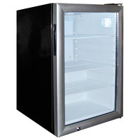 Excellence EMM-3SD Black Countertop Display Refrigerator with Stainless Steel Swing Door - 2.5 Cu. Ft.