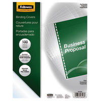 Fellowes 5293401 Crystals 11 1/4 inch x 8 3/4 inch Clear Pre-Punched Binding System Cover - 100/Pack
