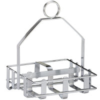Tablecraft 609R Chrome Plated Salt and Pepper Shaker / Sugar Packet Rack - 5 inch x 4 3/4 inch x 6 1/2 inch