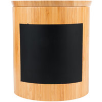 Tablecraft RCBR9910 Write-On 9 inch x 10 inch Bamboo Round Storage Container with Chalkboard