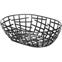 Tablecraft BC7409 Complexity Collection Black Powder Coated Metal Oval Basket - 9 inch x 6 inch x 2 inch