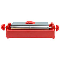 Tablecraft MH-311P 11 1/2 inch Red Premium 3-Way Knife Sharpening System with Honing Oil