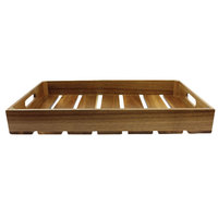 Tablecraft CRATE12 Gastronorm Acacia Serving and Display Crate - 12 3/4 inch x 10 1/2 inch x 2 3/4 inch